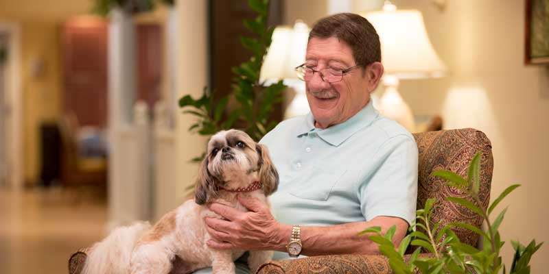 Averilla Assisted Living resident with his dog.